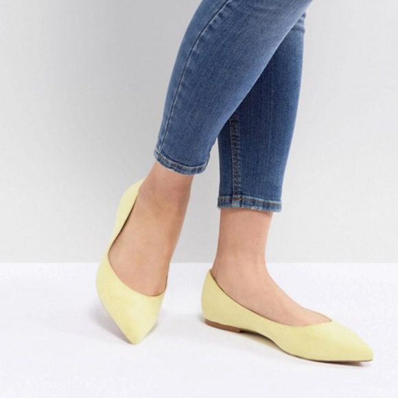 top brands pre order 2020 ASOS Yellow Point Flat Shoes — Wide Fit — Boutique